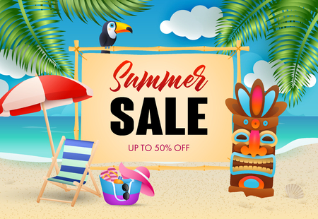 Summer sale lettering, chaise longue and tribal mask on beach. Tourism, summer offer or sale design. Handwritten and typed text, calligraphy. For leaflets, brochures, invitations, posters or banners.