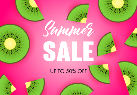 Summer sale lettering with kiwi slices. Tourism, summer offer or sale design. Handwritten and typed text, calligraphy. For leaflets, brochures, invitations, posters or banners. 版權商用圖片 - 122484485