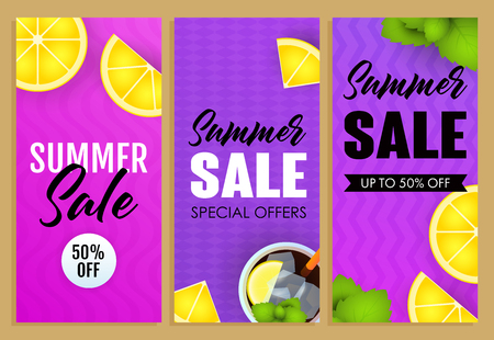 Summer sale letterings set, lemon slices and mojito cocktail. Tourism, summer offer or sale design. Handwritten and typed text, calligraphy. For leaflets, brochures, invitations, posters or banners.