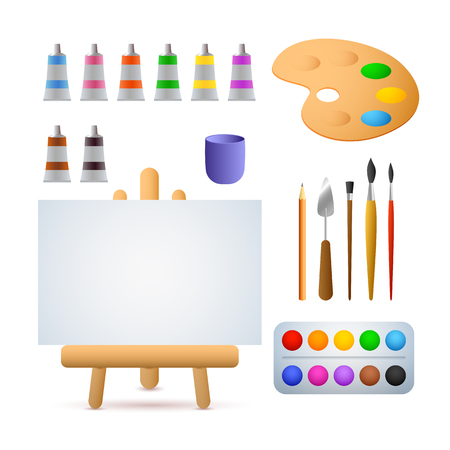 Art studio vector illustration. Oil paints, watercolors, brushes, easel. Painting concept. Vector illustration can be used for topics like art, hobby, leisure Ilustração