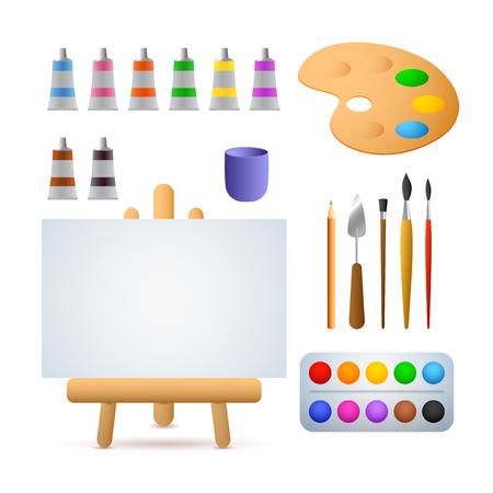 Illustrazione vettoriale di studio d'arte. Colori ad olio, acquerelli, pennelli, cavalletto. Concetto di pittura. L'illustrazione vettoriale può essere utilizzata per argomenti come arte, hobby, tempo libero