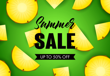 Summer sale lettering with pineapple slices. Tourism, summer offer or sale design. Handwritten and typed text, calligraphy. For leaflets, brochures, invitations, posters or banners.