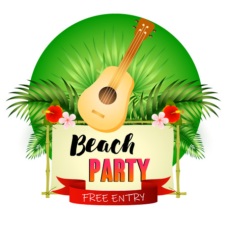 Beach party poster design. Guitar, signboard, ribbon, palm leaves and flowers on green background. Vector illustration can be used for banners, flyers, invitation cards