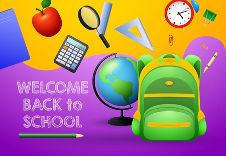 Welcome back to school posters design. Green backpack, globe, alarm clock, apple and school supplies on colorful background. Vector illustration can be used for banners, ads, signs