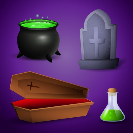 Halloween celebration attributes. Poison, coffin, pot and grave. Can be used for topics like holiday, mystery, horror