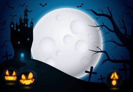 Halloween background with castle and moon. Spooky mysterious scenery with cemetery, jack-o-lanterns and tower. Can be used for topics like scary movie, fantasy, horror Ilustração