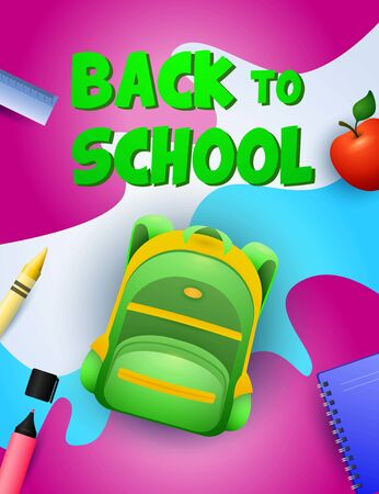 Back to school poster design. Green backpack, apple, notebook, ruler, marker pen on colorful background. Vector illustration can be used for banners, ads, signs Vectores