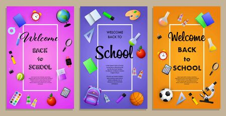Back to school sale flyer design with apple, backpack, sport balls and other supplies. Purple, violet, orange posters set. Vector illustration can be used for banners, ads, signs Ilustración de vector
