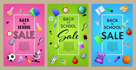 Back to school sale flyer design with sport balls, paints, backpack and other supplies. Pink, green, blue posters set. Vector illustration can be used for banners, ads, signs