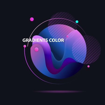 Abstract colorful circle. Gradient in sphere of dark blue, violet, purple. Round shape with orbit on black background. Vector template for logos, posters, banners design