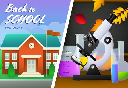 Back to school lettering, school building, microscope, flasks. Offer or sale advertising design. Handwritten text, calligraphy. For leaflets, brochures, invitations, posters or banners.