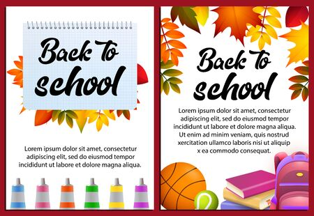 Back to school letterings in frames, stationery, backpack. Offer or sale advertising design. Handwritten text, calligraphy. For leaflets, brochures, invitations, posters or banners.