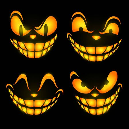 Ominous face expressions. Set of glowing eyes and teeth of cartoon character. Can be used for topics like horror, spooky face, mystery
