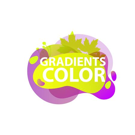 Abstract graphic elements. Violet, green, purple colors, maple leaves. Fluid forms, transparent layers, flowing shapes. Vector template for logo, presentation, flyer design