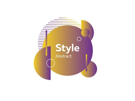Spherical futuristic yellow abstract element. Dynamical colored forms and lines. Isolated gradient circles, semicircles, geometric lines and dots. Template for design of logo, flyer or presentation