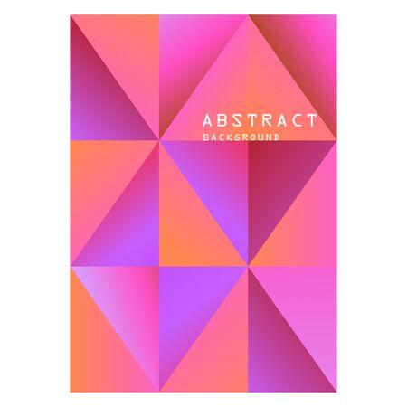 Abstrait. Couleurs dégradées violet, violet, rouge et texte dans le cadre. Losanges, triangles, diagonales, formes géométriques, motif harmonieux. Modèle vectoriel pour bannières, affiches, brochures, dépliants