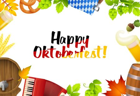 Happy Oktoberfest lettering set and fest symbols. Festive banner design with beer mug, accordion, flag, beer tap on white background. Lettering can be used for invitations, advertising, announcements