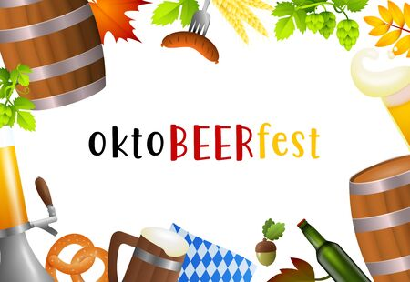 Oktobeerfest lettering set and fest symbols. Festive banner design with beer mug, accordion, flag, beer tap on white background. Lettering can be used for invitations, advertising, announcements