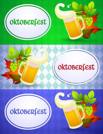 Oktoberfest lettering with beer mug. Festive banner design with beer mugs, foam on green, light blue and violet argyle background. Lettering can be used for invitations, advertising, announcements