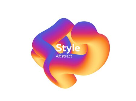 Orange and purple flowing liquid shape. Dynamical colored forms and line. Vector illustration can be used for advertising, marketing, presentation Illustration