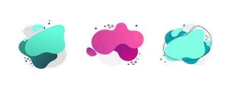 Flüssiger abstrakter geometrischer Formsatz. Cyan, grün, pinke Kleckse, schraffierte und gepunktete Elemente, Wellenlinien. Fließende Spritzer, flüssige Formen. Vektorillustration für Banner, Poster, Flyerdesign Vektorgrafik