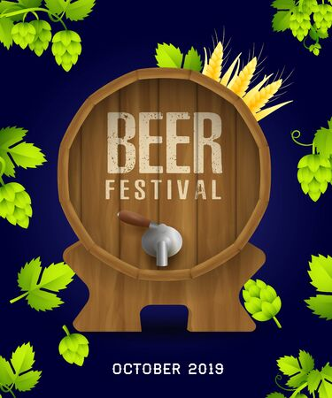 Beer festival banner design with realistic hops and leaves on dark blue background. Beer barrel with closed tap. Lettering can be used for invitations, signs, announcements