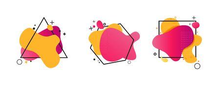 Ensemble abstrait d'éclaboussures rouges et jaunes. Formes fluides, triangle, carré, hexagone. Formes géométriques régulières, liquide fluide, lignes ondulées. Illustration vectorielle pour bannière, design de marque