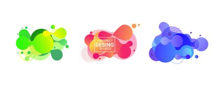 Abstract round shape set. Purple, blue, pink, yellow, green fluid circles. Hatched round forms, dynamic bubbles, gradient colors. Vector template for brochures, banners, posters, covers