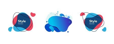 Set of abstract modern red and blue graphic elements. Dynamical colored forms and line. Gradient abstract banners with flowing liquid shapes. Template for flyer, presentation design. Vector
