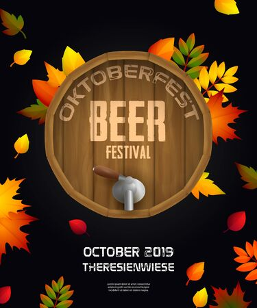 Oktoberfest beer festival on wooden beer barrel with tap. Modern banner design with multi-colored fall leaves. Lettering can be used for invitations, signs, announcements