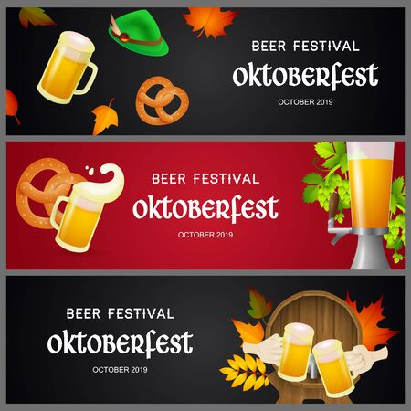 Set of Oktoberfest beer festival banners. Creative design with beer tap, barrel, mugs and pretzel on red and black background. Lettering can be used for invitations, signs, announcements
