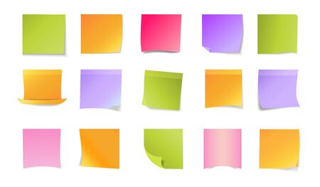 Office stickers set. Colorful blank sticky notes. Papers of different colors with curled corners. Office concept. Vector illustration can be used for messages or notice board templates