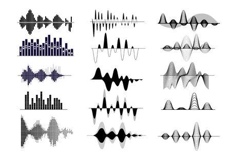 Ensemble d'ondes sonores. Fréquence radio, enregistrement audio, forme d'onde, courbe vocale. Notion sonore. Les illustrations vectorielles peuvent être utilisées pour des sujets comme la chanson, la musique, la bande-son