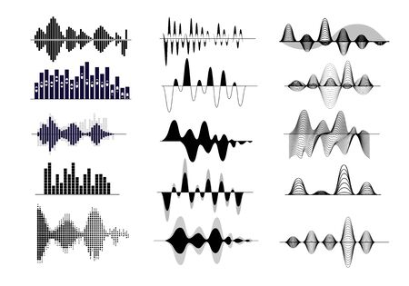 Geluidsgolf ingesteld. Radiofrequentie, audio-opname, golfvorm, stemcurve. Geluidsconcept. Vectorillustraties kunnen worden gebruikt voor onderwerpen zoals zang, muziek, soundtrack