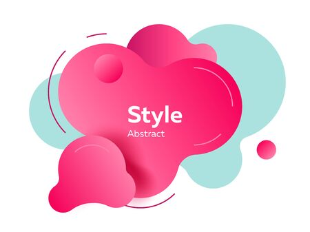Red pink and light blue modern fluid elements with sample text. Dynamic colored forms and lines. Gradient abstract banner with flowing shapes. Template for   flyer, presentation design. Vector