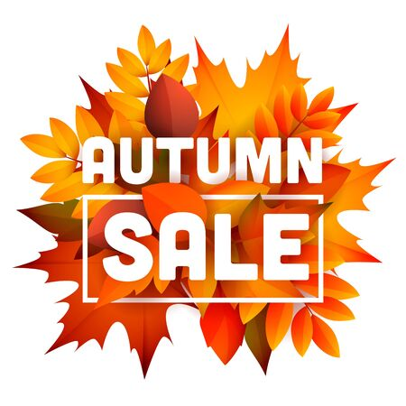 Autumn sale leaflet design with bunch of leaves. Text with frame, orange and yellow fall foliage. Vector illustration can be used for banners, posters, ads, promo 矢量图片