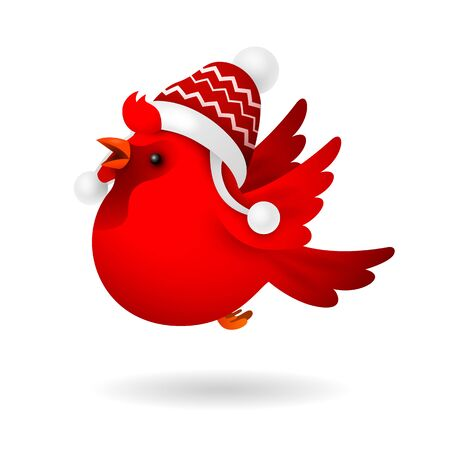 Red rooster wearing winter hat cartoon illustration. Winter, New Year, celebration. Christmas concept. Vector illustration can be used for topics like holiday, childhood, event