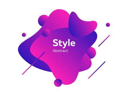 Neon purple futuristic abstract graphic elements. Dynamical colored form and line. Abstract banner with irregular shapes. Template for logo, flyer, presentation design. Vector illustration