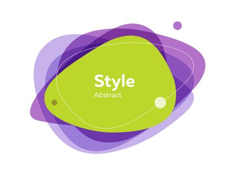 Green and purple multi-layer abstract graphic element. Dynamical colored form and line. Abstract banner with irregular shapes. Template for logo, flyer, presentation design. Vector illustration