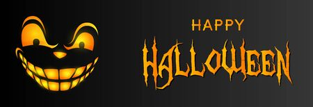 Happy Halloween greeting card design with sneering face on black background. Halloween concept. Vector illustration can be used for banner, poster, flyer Ilustração