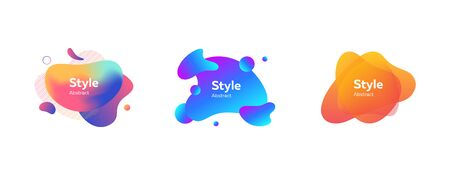 Set of abstract modern orange, violet, blue graphic elements. Dynamical colored forms and lines. Gradient abstract banners with flowing liquid shapes. Template for logo, flyer, presentation
