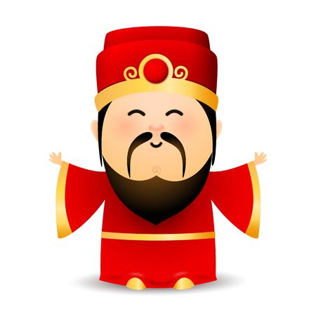 Wise old Chinese man in red dress. Spiritual elderly bearded man in hat. Can be used for topics like New Year, oracle, prediction