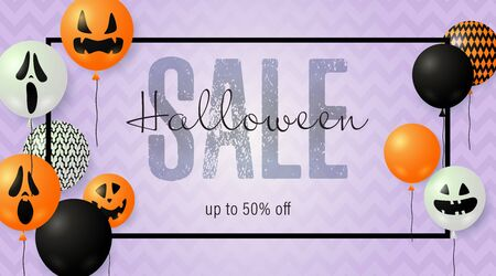 Halloween Sale lettering with ghost balloons. Invitation or advertising design. Handwritten and typed text, calligraphy. For leaflets, brochures, invitations, posters or banners.