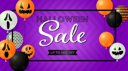 Halloween Sale lettering in frame with spooky balloons. Invitation or advertising design. Handwritten and typed text, calligraphy. For leaflets, brochures, invitations, posters or banners.