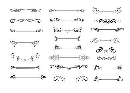 Conjunto de divisores decorativos vintage. Remolinos caligráficos, bordes retro, adorno. Concepto de decoración. Ilustraciones vectoriales para temas como diseño web, separador, líneas ornamentadas.