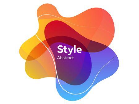 Blaue, orange und gelbe transparente Elemente. Abstrakte Ebenen, Textbeispiel, flüssige Formen, dynamische Linien. Vektorillustration für Banner, Poster, Cover-Design