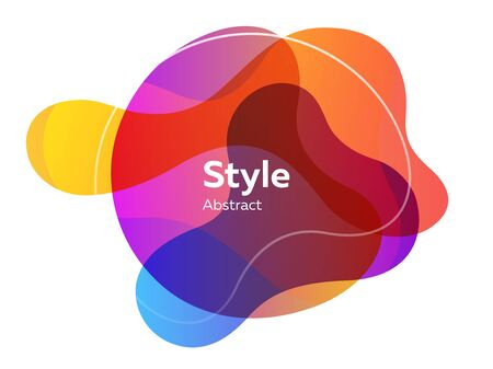 Orange, blue, purple abstract elements. Hatched shapes, circles, layers, dynamical forms with text sample. Vector illustration for banner, poster, brochure design