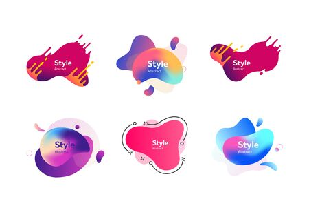 Set of splashing abstract graphic elements. Design background with flowing shapes. Vector illustration. Can be used for advertising, marketing, presentation