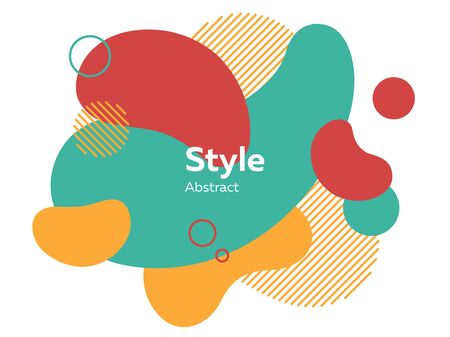 Éléments abstraits rouges, jaunes et verts. Formes hachurées, cercles, calques, formes dynamiques avec échantillon de texte. Illustration vectorielle pour la bannière, l'affiche, la conception de la couverture