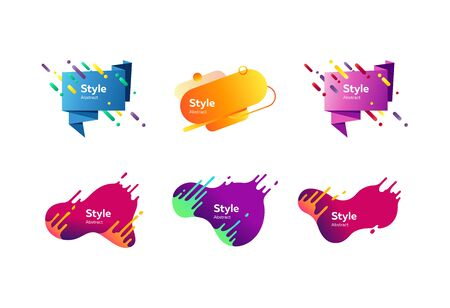 Bright geometric badges set. Modern colorful abstract shapes with sample text. Trendy minimal templates for presentations, banners, apps and websites. Vector illustration Vektorové ilustrace